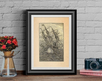 Octopus Print, Kraken Print, Vintage Poster, Home Decor Wall Art