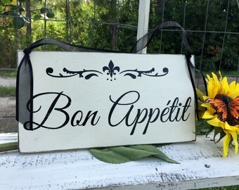 Kitchen Signs | Bon Appetit | French Signs | Wood Kitchen Signs | 6 x 11.5