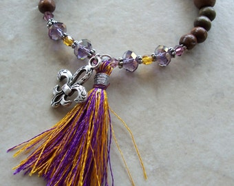 Mardi Gras Fleur-de-lis Bohemian Stretchy Tassel Bracelet Trendy Stacking Wood Crystal Pewter Gold Purple