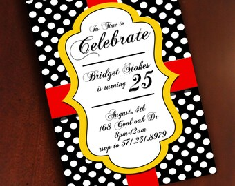 Black, red, white and gold polka dot birthday invitation