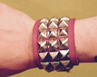 Red Leather Bracelet PUNK