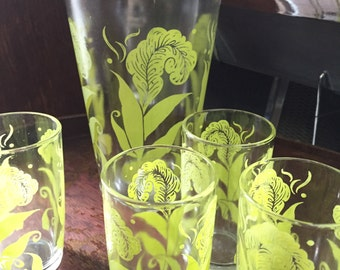MidCentury Juice Pitcher and 4 Juice Glasses with Botanical Details