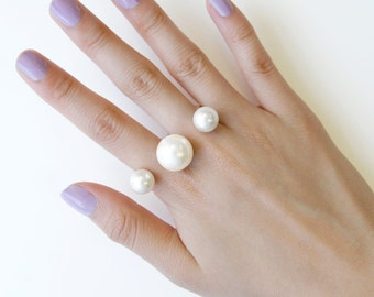 White Pearl Ring, Double Ring, Silver and Gold Ring, Silver Ring, June Birthstone, Gold Ring, Fashion Ring, Open Ring, Coctail Ring, Gift