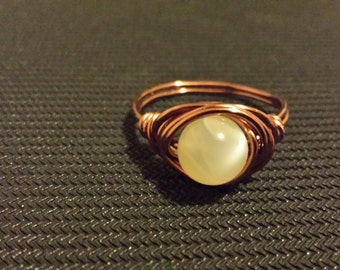 WIRE WRAPPED RING Moonstone in Antiqued Copper Handmade