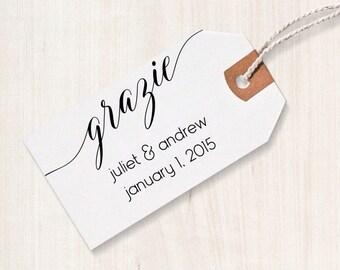 Grazie Rubber Stamp - Grazie Favor Stamp, DIY Wedding Stamp, Grazie Wedding Stamp, Grazie Favor Stamp, Italian Wedding Favor Stamp