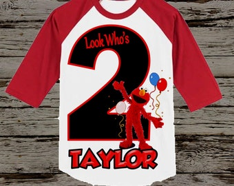Elmo Birthday Shirt - Elmo Raglan Birthday Shirt