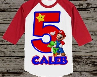Mario Birthday Shirt - Super Mario Brothers Birthday Shirt - Raglan Available
