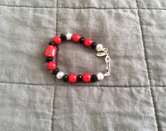 Onyx and Red Coral Bracelet