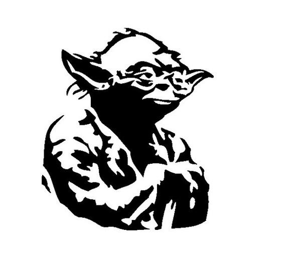 Yoda Head Outline Yoda Vinyl Decal Star ...