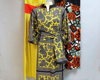 WHOLESALE Vintage Dress Lot of 3, 1960's MAXI Dresses, 1970's KIMONO Dress, Flower Power, size 8-10
