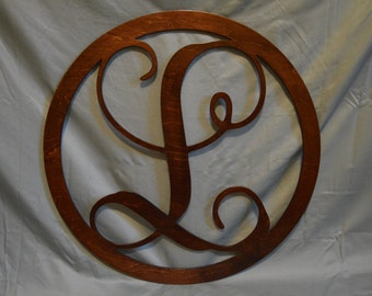 "Personalized 24"" Wood Monogram - Stained"