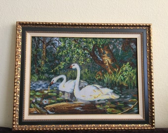 "The beaded picture ""Swans"""