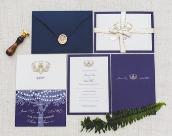 SAMPLE: Navy and Gold with Thistle Motif Traditional Wedding Invitation Set with RSVP and Envelope. – UK