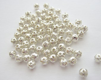 100 Filigree Beads (4mm) Silver Plated Round Hollow Metal Spacer Beads  Jewellery Making Findings