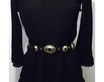 Boho concho leather belt