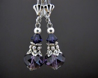 Beaded Earrings - Crystal Earrings - Purple Earrings - Jewelry Handmade Earrings - Dangle Beaded Earrings - Crystal Glass Bead