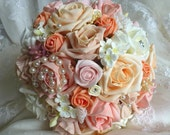 Bespoke Pastel Peach Coral  Pink Pearl wedding bridal bouquet country style