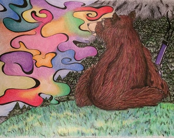 Smoking bear ART PRINT