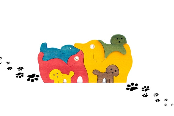 Wooden Dogs Puzzle, Educational Toy for Kids, Jigsaw Puzzle, Wooden Waldorf Toy, Toddler Gift, Toddler Learning Toy, Preschool Learning