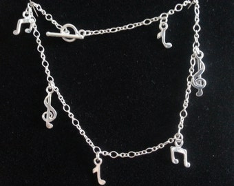 Sterling Silver Musical Notes Anklet