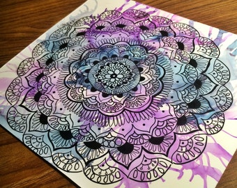 Mandala Zentangle with Alcohol Ink