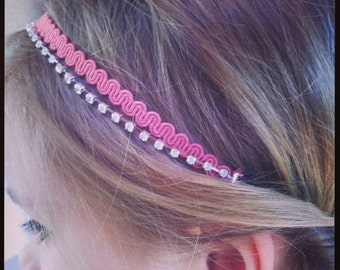 Pink old croquet and clear rhinestone headband