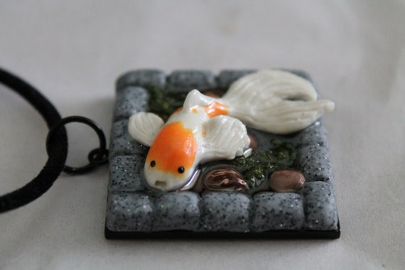 Resin polymer clay necklace koi fish pond for Clay koi fish