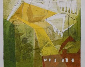 Original Fine Art Etching, Barn-Inspired Intaglio Print on Linen