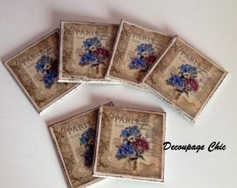 Decoupage coasters, set 6 pcs