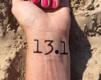 Half Marathon Tattoo, Running Tattoo, Temp Tattoo, Fake Tattoo, 13.1, Gym Tattoo, 1/2 Marathon, Race Day, Motivation Tattoo, Half Marathon