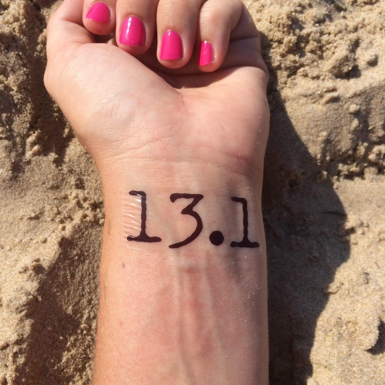 Half marathon tattoo running tattoo temp tattoo fake for Half marathon tattoos