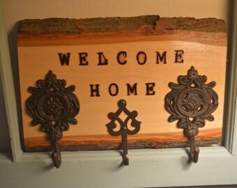 Welcome Home - Woodburned Key Rack - housewarming gift - wood art - wood decor - wood sign - christmas gift - key rack