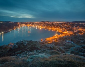 Night Art Print, Large Wall Art, Signal Hill, Newfoundland Photography, Landscape Photograph, St John's Art Print