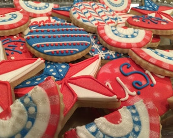 2 doz. 4th of July Veteran USA cookies