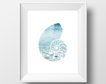 Ocean Seashell Wall Art, Photography Digital Print, Art Print, Instant Download