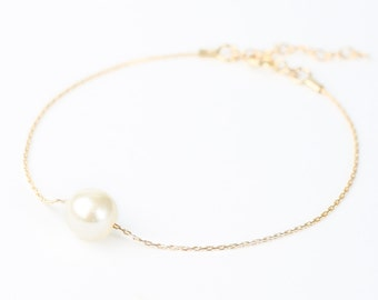 Ivory Gold Pearl Bracelet - Swarovski Pearl Bracelet - Pearl Bracelet Bridesmaid - Bridesmaid Pearl - Single Pearl Bracelet - Simple Pearl