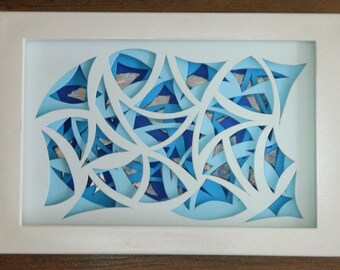 3D Paper Sculpture Arcs Blue Chaos