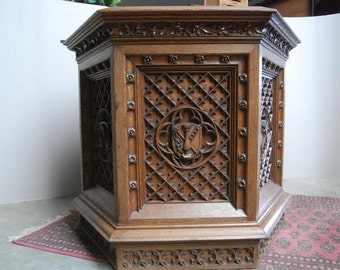 Church Pulpit Podium or Lectern, 19th Century Antique, French Oak, Hostess Stand #2436