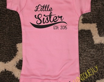 Little Sister, Little Sister Baseball Shirt, Sister Sibling Shirts- order with or without year