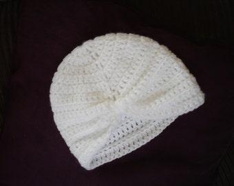 Baby Hat,  Turban,  White - Newborn to 3 months