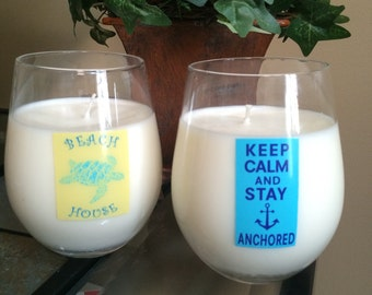Wine Glass, Soy Candles, Driftwood & Sandy Beaches - Steamless wine glasses