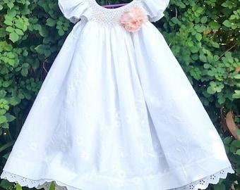 Adorable floral bishop smocked baby girl dress, baby embroidered dress, smock dress, baby dress, first birthday dress, Baptism dress, summer