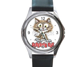 Stressed Out kitty #2  Round Metal funny Watch