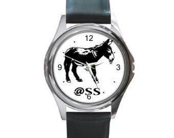 Ass   Round Metal funny Watch