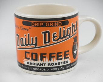 "Vintage 1991 Yesteryear Westwood Daily Delight ""Here's Howe"" Coffee 12 oz Orange"