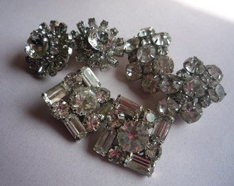 Vintage Chunky Clear Rhinestone Clip On Earrings Lot x3 Silver Tone Mounts
