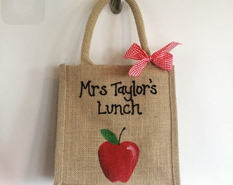 Mini jute Teacher lunch bag