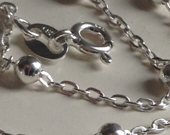 Vintage 925 Silver Saturn ball chain link bracelet 7 1/4 inch