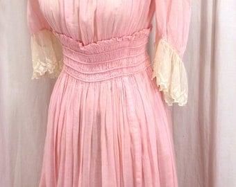 Pink Day Dress Victorian Edwardian Lawn Dress 1800's 1900's ~ Amazingly Beautiful