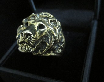 LION RING, Lion head ring sterling silver,14kgold
